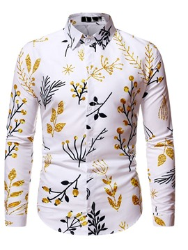 Ericdress Lapel Print Floral Slim Single-Breasted Shirt