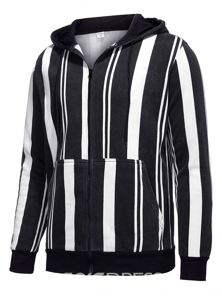 Ericdress Patchwork Stripe Hooded Winter Zipper Jacket