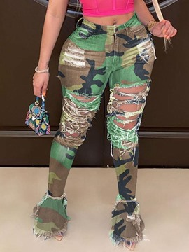 Ericdress Worn Bellbottoms Camouflage Zipper Mid Waist Jeans
