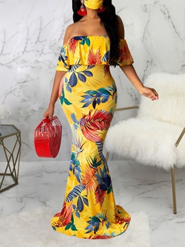 Ericdress Floor-Length Short Sleeve Print Mid Waist Dress