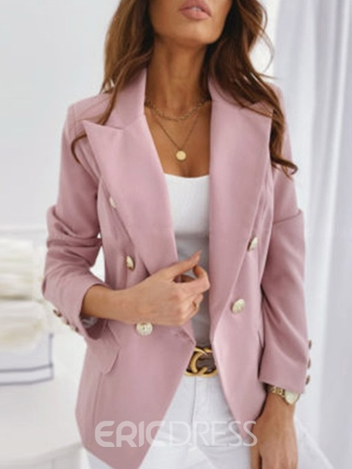 Ericdress Plain Long Sleeve Notched Lapel Standard Regular Casual Blazer
