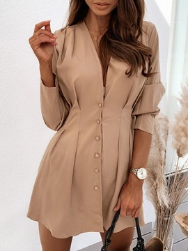 Ericdress Pleated Long Sleeve Above Knee Plain Regular Dress