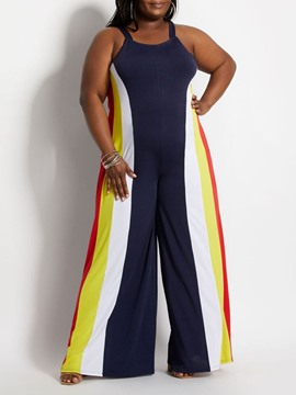 Ericdress Western Full Length Patchwork Wide Legs Slim Jumpsuit
