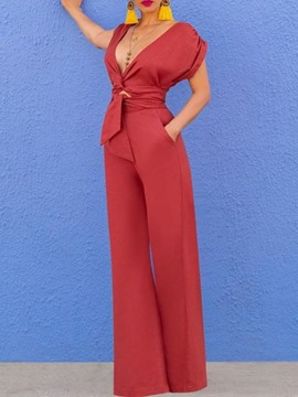 Ericdress Full Length Plain Fashion Slim Wide Legs Jumpsuit