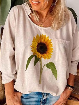 Ericdress Long Sleeve Floral Standard Casual Loose T-Shirt