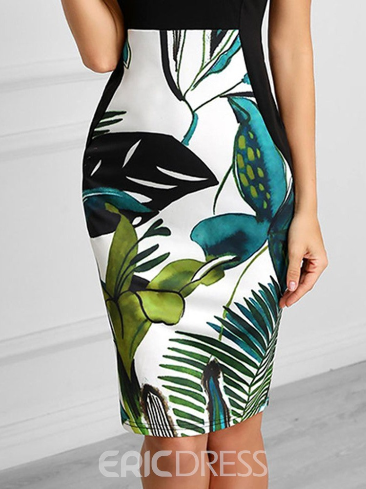 Ericdress Knee-Length Sleeveless Print Pullover Bodycon Dress