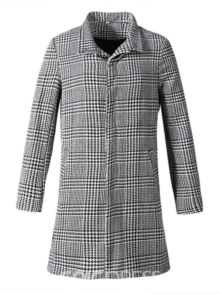 Ericdress Plaid Mid-Length Slim European Coat
