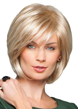 Ericdress Women's Short Bob Hairstyle Natural Straight Blonde Human Hair Lace Front Cap Wigs 10Inch