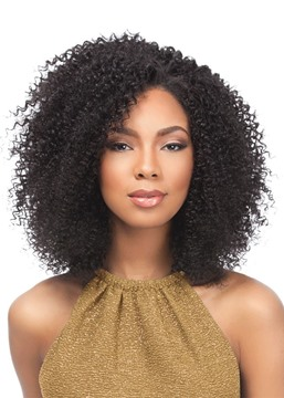 Ericdress Women's Afro Kinky Curly Human Hair Lace Front African American Wigs 18Inch