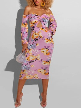 Ericdress Print Mid-Calf V-Neck Lantern Sleeve Sheath Dress