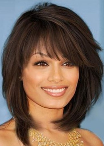 Ericdress Medium Hairstyle Women's Layered Wavy Synthetic Hair Wigs With Bangs Capless Wigs 16Inch