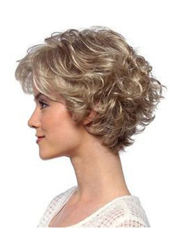 Ericdress Short Curly Hairstyles Womens Blonde Color Lace Front Cap Wigs Synthetic Hair Wigs 12Inch