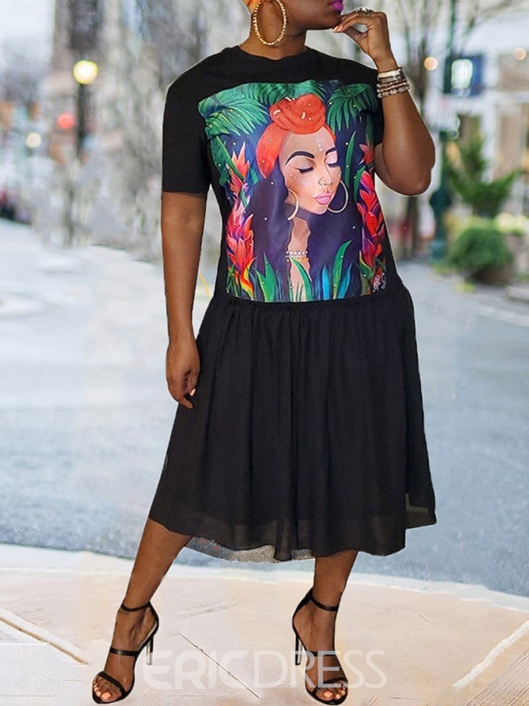Ericdress Short Sleeve Mid-Calf Print Date Night/Going Out A-Line Plus Size Dress
