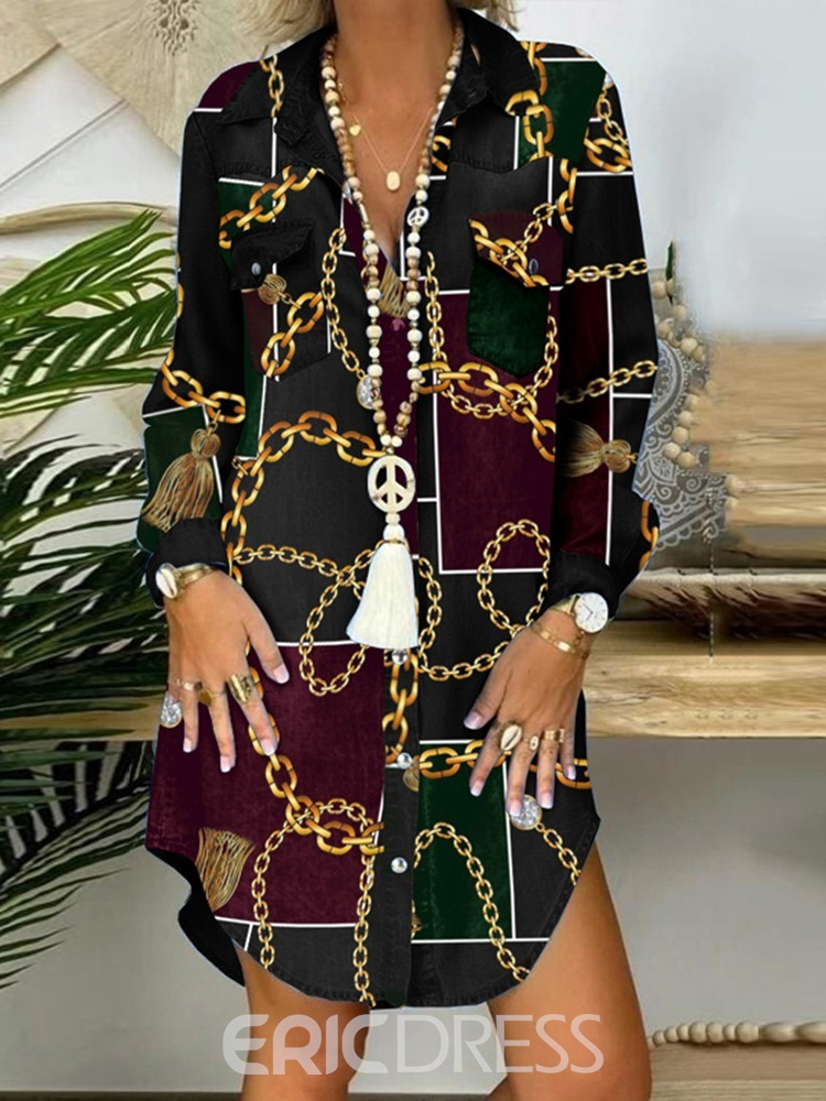 Ericdress Patchwork Long Sleeve Lapel Fashion Single-Breasted Dress