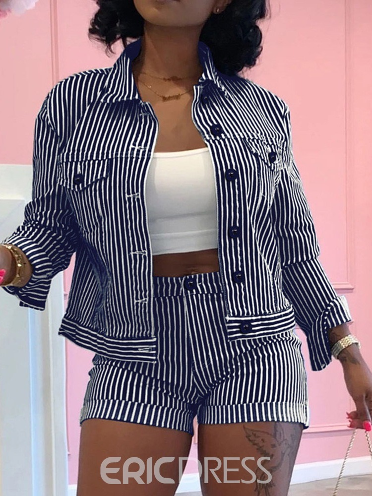 Ericdress Jacket Stripe Simple Lapel Single-Breasted Two Piece Sets