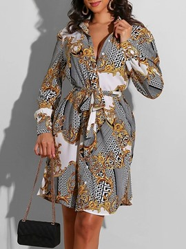 Ericdress Long Sleeve Lapel Print Casual A-Line Dress