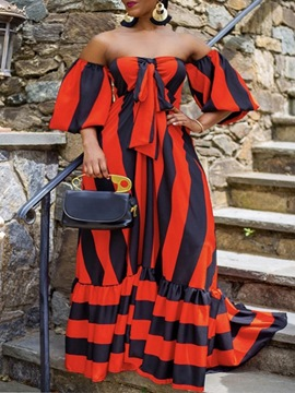 Ericdress Falbala Floor-Length Three-Quarter Sleeve Stripe Fall Dress