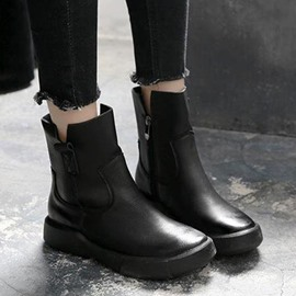 Ericdress Plain Side Zipper Round Toe England Boots