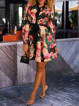 Ericdress Long Sleeve Print Above Knee Single-Breasted Floral Dress