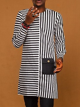 Ericdress Stripe Round Neck Fall Slim Shirt