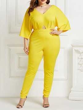 Ericdress Plus Size Plain Fashion Full Length Skinny Mid Waist Jumpsuit