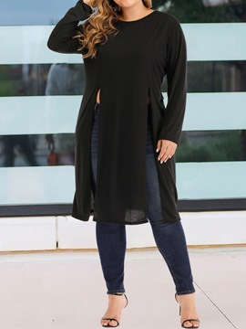 Ericdress Plus Size Long Sleeve Mid-Length Round Neck Fall Slim T-Shirt