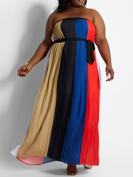Ericdress Plus Size Sleeveless Floor-Length Patchwork Pullover Dress