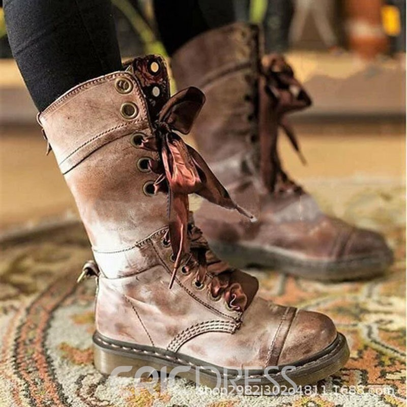Ericdress Round Toe Plain Lace-Up Front Women's Casual Boots