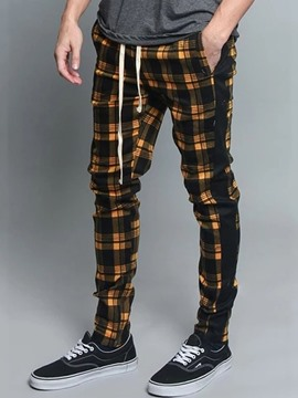 Ericdress Plaid Pencil Pants Lace-Up Mid Waist Casual Pants