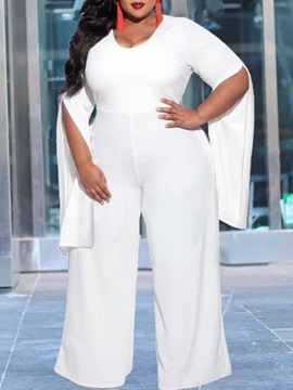 Ericdress Fashion Plain Full Length Wide Legs Slim Plus Size Jumpsuit