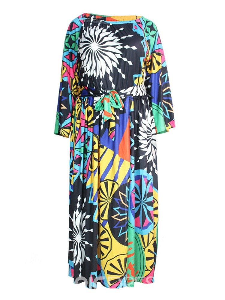 Ericdress Floor-Length Long Sleeve Print Pullover Cold Shoulder Dress