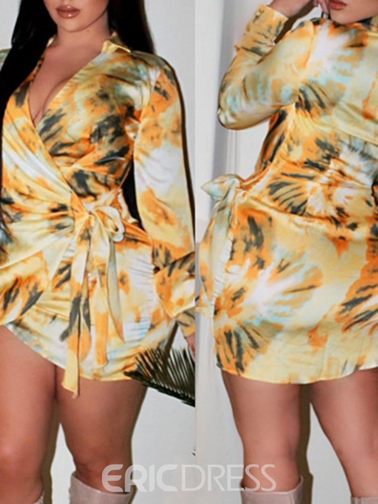Ericdress Tie-Dye Above Knee V-Neck Mid Waist Lace-Up Dress