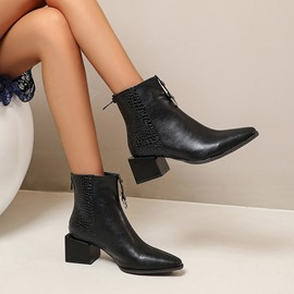 Ericdress Pointed Toe Block Heel Back Zip Zipper Boots