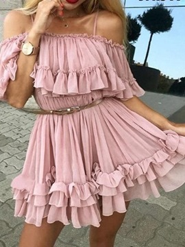 Ericdress Half Sleeve Stringy Selvedge Above Knee Mid Waist Sweet Dress
