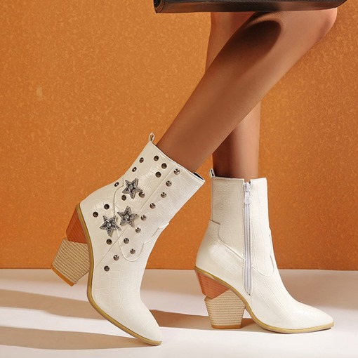 Ericdress Pointed Toe Side Zipper Chunky Heel Zipper Boots