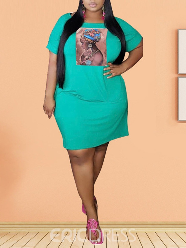 Ericdress Plus Size Print Above Knee Round Neck Pullover Dress