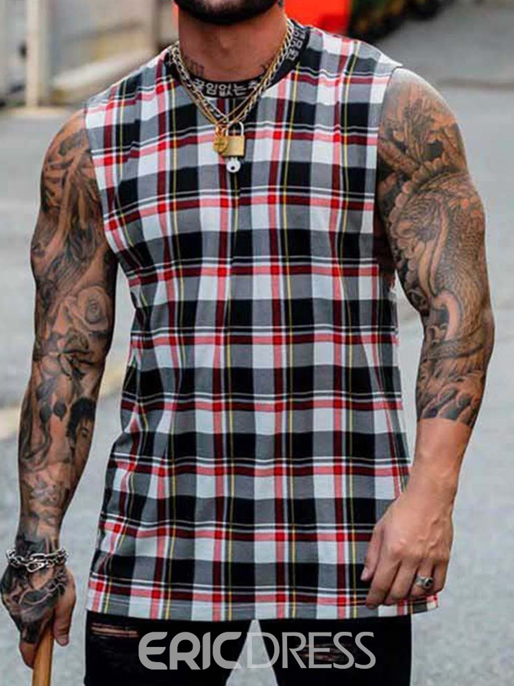 Ericdress Plaid Straight Stand Collar Summer Vest