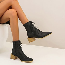 Ericdress Pointed Toe Block Heel Side Zipper Zipper Boots