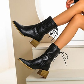 Ericdress Block Heel Stripe Pointed Toe Zipper Boots