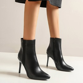 Ericdress Plain Pointed Toe Stiletto Heel Zipper Boots