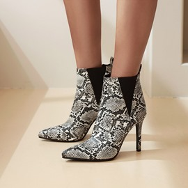Ericdress Chunky Heel Slip-On Round Toe Serpentine Boots