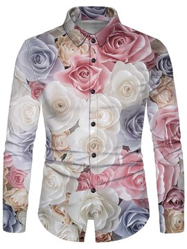 Ericdress Print Lapel Floral Slim Single-Breasted Shirt