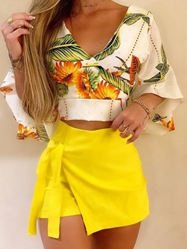 Ericdress Sexy Floral Shirt Culottes Pullover Two Piece Sets