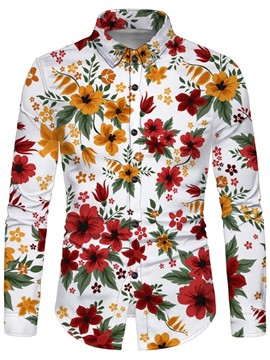 Ericdress Print Floral Lapel Single-Breasted Fall Shirt