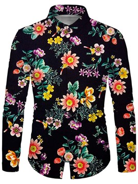 Ericdress Men's Floral Print Lapel Fall Single-Breasted Shirt