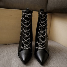 Ericdress Plain Stiletto Heel Pointed Toe Chain Boots