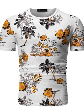 Ericdress European Round Neck Floral Pullover Short Sleeve T-shirt