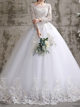 Ericdress Chapel Ball Gown Long Sleeves Appliques Hall Wedding Dress