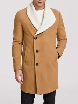Ericdress Lapel Patchwork Mid-Length Fall Single-Breasted Coat