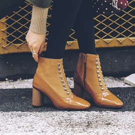 Ericdress Plain Side Zipper Chunky Heel Zipper Boots